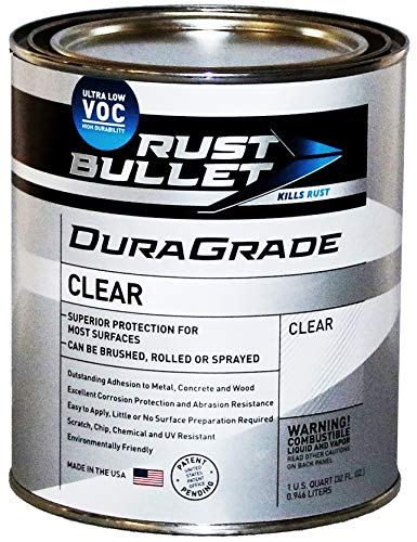 Rust Bullet DuraGrade Clear – High Performance Clear Coat for Concrete, Automotive, Wood and Metal Finishes, Impact Resistant, Ultra-Low VOC Clear Coating (Quart)