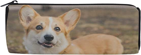 Cute and Lovely Small Corgi Puppy Students Super Large Capacity Barrel Pencil Case Pen Bag Cotton Pouch Holder Makeup Cosmetic Bag for Kids