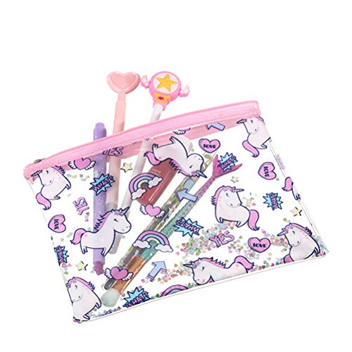 Hihey Shower Bag Toiletry Bag Ladies Bag Transparente de la Historieta Unicornio PVC Maquillaje Bolsa de Viaje Artículos de tocador de Viaje Cremallera