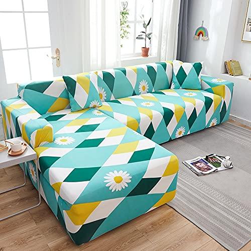 Funda elástica para sofá con Estampado Floral y Cuadros Escoceses Pida 2 Piezas Funda para sofá esquinero seccional en Forma de L Sillón Protectot A16 4 plazas