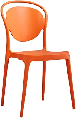 Modern Minimalist Dining Chair Backrest Creative Office to Discuss Chair Adult Plastic Fashion Restaurant Chair Stool (Color : Orange)