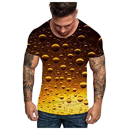 DNOQN Männer Mode Unisxe Komisch 3D Drucken O-Ausschnitt Kurz Ärmel T-Shirt Tees Oben