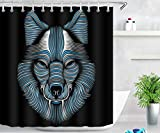JgZATOA Cortina De Ducha Negra Impermeable Animal Lobo Estampado Cortina Moho Bañera Cortina Poliéster Baño Decoración con Ganchos 180X200Cm