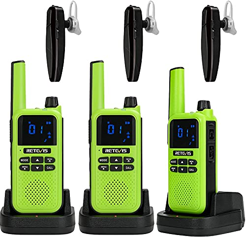 Retevis RA619 Bluetooth Walkie Talkie, Recargable Licencia Libre Auriculares Bluetooth, Copia Inalámbrica 16ch Professional Walkie Talkie para Caza Ciclismo de Montaña (Verde, 3 Pieza)