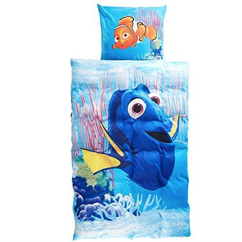 Disney - Juego de cama (linón, 135 x 200 cm, 80 x 80 cm, algodón), diseño de Buscando a Dory y Nemo