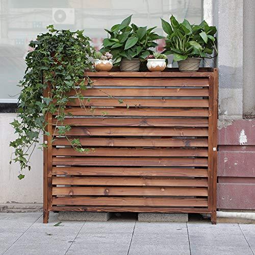 Estantería Cubierta de Aire Acondicionado de Madera, Pantalla de Privacidad al Aire Libre Marrón Estante de Flores de Planta Independiente, para Decoración de Balcón de Patio de Jardín