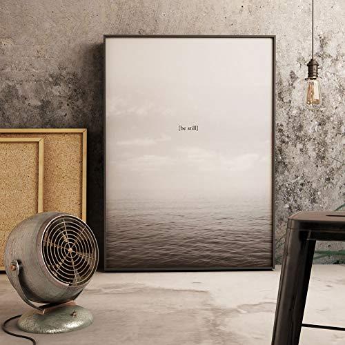GASFG Zwart-wit-zeewandafbeelding kunst canvas schilderen, abstract affiche en drukwoonkamer maken afbeelding landschap Gerahmt 60 x 80 cm.