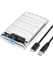 """POSUGEAR Carcasa Disco Duro 2.5"""" USB 3.0, Caja Disco Duro Externo de HDD SSD SATA I/II/III de 7mm 9.5mm de Altura, Sopporta UASP, No Requiere Herramientas, con Cable USB3.0 [Transparente]"""