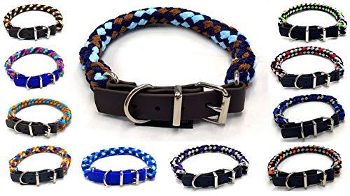 Hundehalsband für kleine Hunde / mittlere Hunde / große Hunde verstellbar S / M / L / XL mit Biothane Schnallenverschluss L 49cm - 54cm, Ohio (schwarz, Silber, rot)