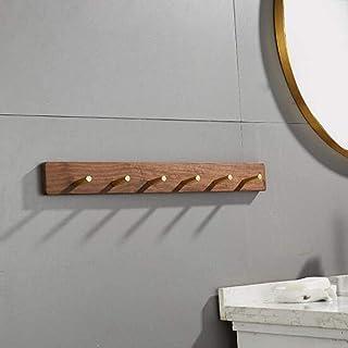 SCH-SC ウォールシェルフ 浴室用ラック コートは、ウォールハンギングソリッドウッド玄関は廊下のバスルームリビングルームキッチンのための5つの真鍮フック、で、コートラックをラックマウント 壁掛け棚 収納棚