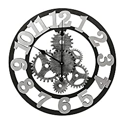 Adeco 3D Retro Rustic Vintage Luxury Gear Noiseless, Wooden Decoration Wall Clocks, 22 Inch, Number-Silver