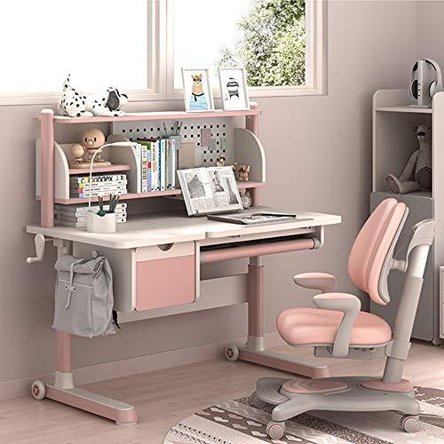 Huangwanru Escritorio Infantil Juego de sillas Los niños Escritorio Y Silla Conjunto niños Escolares Estudio Tabla con Almacenamiento de 2 Colores Opcionales como Tarea Dormitorio