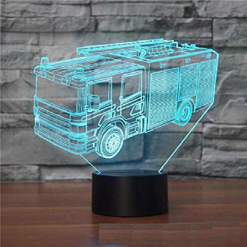 3D feuerwehr - auto Optische Illusions-Lampen, Tolle 7 Farbwechsel Acryl berühren Tabelle Schreibtisch-Nachtlicht mit USB-Kabel für Kinder Schlafzimmer Geburtstagsgeschenke Geschenk