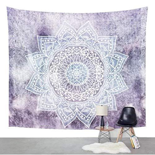 Goldbeing indisch Wandteppich Wandbehang Mandala Tuch Wandtuch Gobelin Tapestry Goa Indian Hippie-/ Boho Stil als Dekotuch Tagesdecke indisch orientalisch psychedelic (203 x 153cm, Lila Schneeflocken)