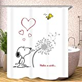 Fgolphd Snoopy Duschvorhang 120x200 180x200180x180 200x240 Bunt Pink Blau Textil Badezimmerteppich 4-teiliges Set,Shower Curtains Waschbar (120 x 200 cm,10)