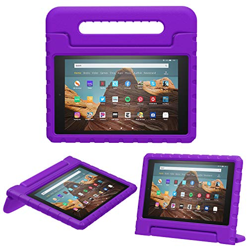 MoKo Case for Fire HD 10 Tablet (5th/7th/9th Generation, 2015/2017/2019 Release), Kids Shock Proof Convertible Handle Light Weight Super Protective Stand Cover Case for Fire HD 10.1 Inch, Purple