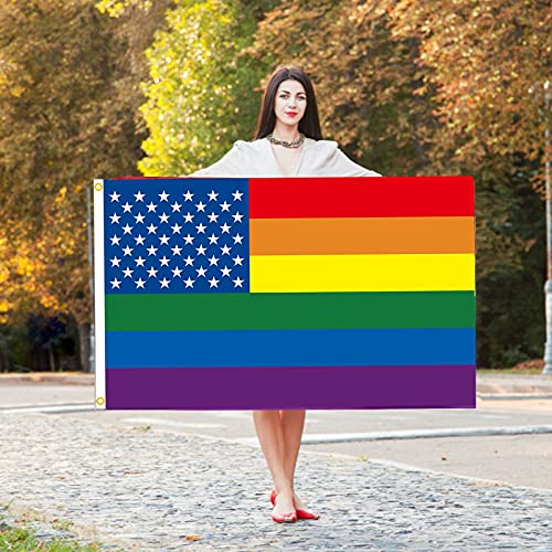 JIJK 2 x Regenbogen-Flagge, 15,7 x 91,4 cm, Gartenflagge Celebrate Progress Pride Flagge Polyester LGBTQ Flagge für Hof, Outdoor, Party, Feier, Zuhause, Bars, Restaurants, Gartendekoration