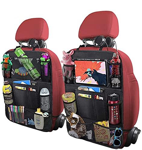 Auto Rückenlehnenschutz 2 Stück Groß Auto Rücksitz Organizer für Kinder, 600D Oxford Stoff Wasserdicht Rücksitzschoner mit 12 Zoll iPad/Tablet-Tasche, Kick-Matten-Schutz für Autositz