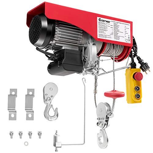 COSTWAY Seilzug elektrisch Seilwinde Seilhebezug Hebezug Stahlseil 500/999 kg/Fernbedienung/Automatische Bremsfunktion
