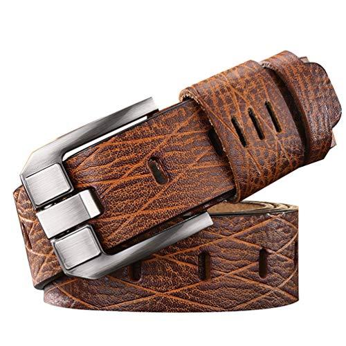 HZQIFEI Vintage Patrón de Cocodrilo Cinturón de Piel Sintética, Hombre Clásico Cinturón con Hebilla Conveniente para los Pantalones Vaqueros (Amarillo oscuro, 105cm)