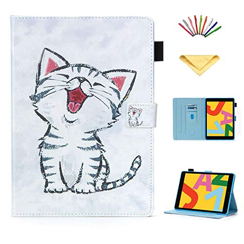 Uliking for New Apple iPad 10.2 inch 2020 Case iPad 8th Generation/ 2019 iPad 7th Generation Cover Folio Stand Smart PU Leather TPU Wallet with Pencil Cards Holder [Auto Sleep/Wake], White Cat Kitty