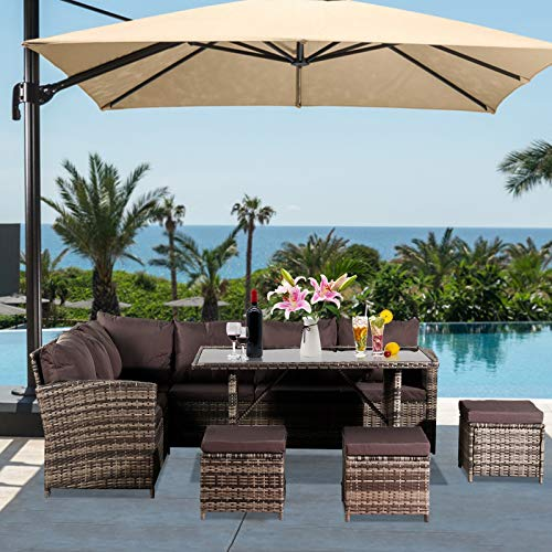 MRWW 9 Seat Rattan Furniture Outdoor Sofa Dining Table, Black Silk Screen Glass Stools Set, with Rain Cover Dark Grey Sofa Cover, for Patio Garden and Conservatory