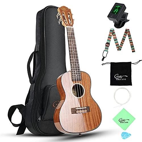 "Hricane Ukelele profesional brillante de 23"", ukulele para principiantes con estuche (23 Pulgadas Sapele)"