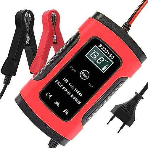 BUDDYGO Cargador de Batería Coche Moto, 5A 12V Full Automático Inteligente Mantenimiento de batería con Múltiples Protecciones para Automóviles, Motocicletas, ATVs, RVs, Barco