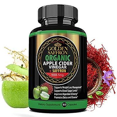 Golden Saffron 100% Organic Apple Cider Vinegar Pills 1800 mg Plus 88.8 Saffron Extract - 2 in 1 Supplement, Natural Digestion, Immune Booster Support & Cleansing Supplement with Probiotics