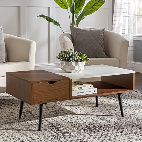Walker Edison Montclair Mid Century Modern Faux Marble Top 1 Drawer Coffee Table, 42 Inch, Acorn