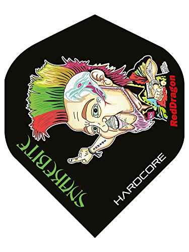 Hardcore Peter Wright Snakebite Cartoon Extra Thick Dart Flights - 4 sets pro pack (12 flights insgesamt) & Red Dragon Checkout Card