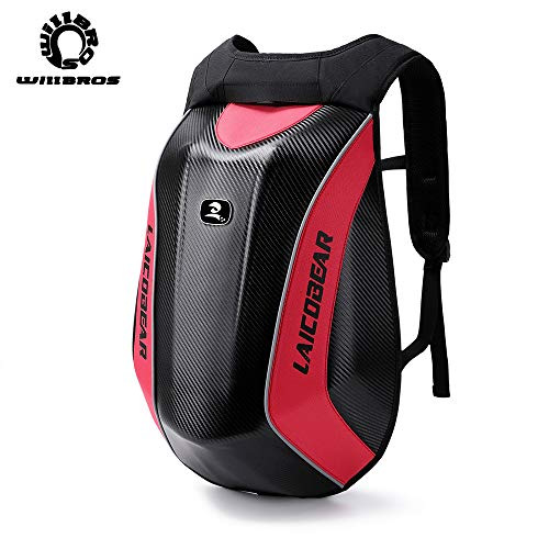 Motorcycle Backpack Waterproof for Dirt Bike ATV Bicycle Multifunction Luggage Tool Bag Hard Shell Red for Laptop
