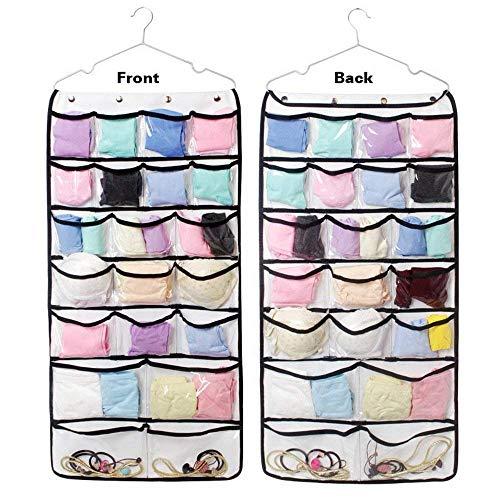 Pulchram 42 Taschen hängende Aufbewahrungsbeutel Tür Kleiderschrank Lagerung Schmuck Schuh BH Unterwäsche Socken Krawatten Organizer mit Aufhänger