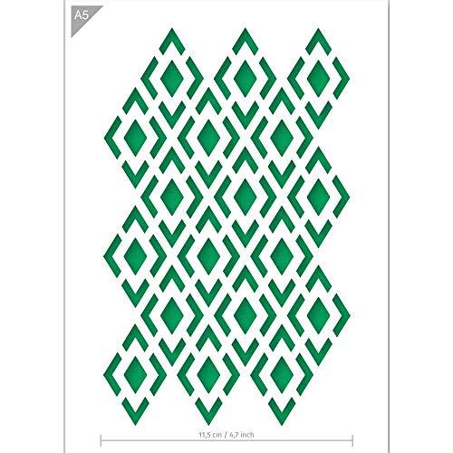 QBIX Diamant Muster Schablone - Schachbrettmuster Schablone - Muster Schablone - Größe A5 - Wiederverwendbare kinderfreundliche DIY Schablone für Malen, Backen, Basteln, Wand, Möbel