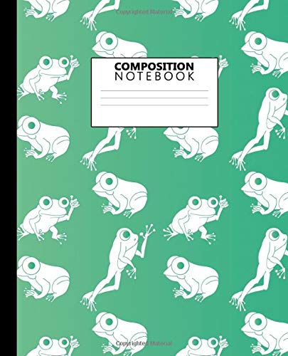 Composition Notebook: Exotic Animals Wide Ruled Journal for Kids, Teens and Students - Funky Frog Blank Wide Lined Diary for School, College and Everyday Notes - Nifty Green Pattern For Kids