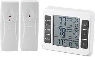 Thermomètre Réfrigérateur Numérique, Thermomètre Réfrigérateur Sans Fil Congélateur de Réfrigérateur avec 2 Capteurs, Alar...