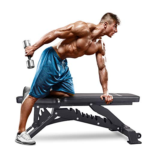 DERACY Deluxe Adjustable Weight Bench for Full Body Workout, Weight Capacity 1100 lbs, Incline and Flat Weight Bench for Indoor Workout, Home Gym