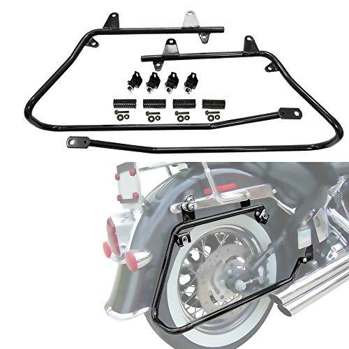 ZXMT Black Hard Saddlebags Conversion Brackets Mount Kit w/Hardware Compatible with Harley Davidson Softail 1986-2013