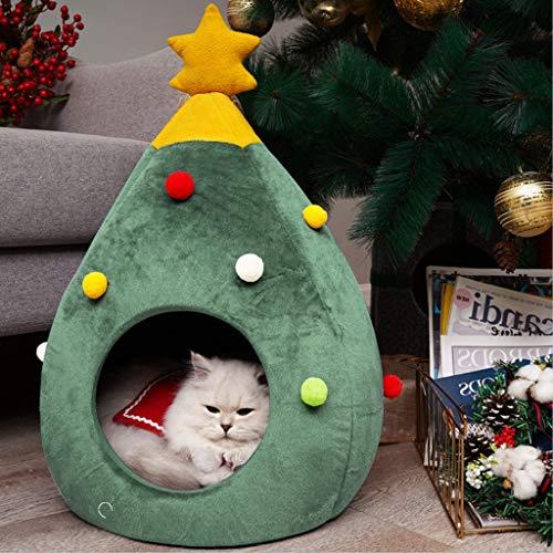 Koolee Cat Bed Cute Half Closed Cat House Soft Christmas Decoration Pet Cat Litter (Green)
