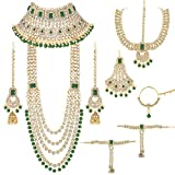 Aheli - Juego de gargantilla y pendientes para novia, diseño tradicional indio
