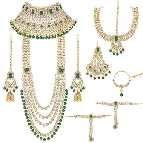 Aheli Indian Bridal Jewelry Set Long Choker Necklace Earrings Maang Tikka Nath Paasa Hath Phool Traditional Faux Kundan Beads Wedding Wear for Women (Green)