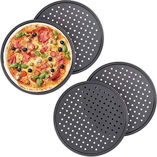 ONEVER Coupe-Pizza + 3 Plateaux à Pizza, Coupe-Plaque à Pizza pour La Cuisson De Pizza Maison Et Tartes Au Pain Et Biscuits Gâteau, 4 Pièces
