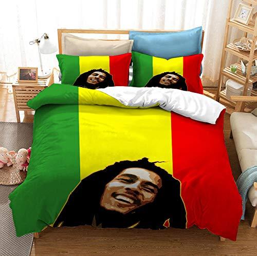 NHBTGH Funda nórdica Estampada Bob Marley 240x220 cm Conjunto de Ropa de Cama de Poliéster de 3 Piezas + 2 Fundas De Almohada, para Todo el Mundo Adultos y Adolescentes