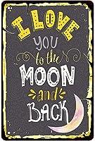 ブリキ メタル プレート サイン 2枚 I Love You Wall Decor Hanging Artwork Sign I Love You to the Moon and Back Art Tin Sign Novetly Cute Gril Bedroom Wall Decor Hanging Artwork Gift for Girl Friends Lovers 12in X 8in(30cm X 20cm)