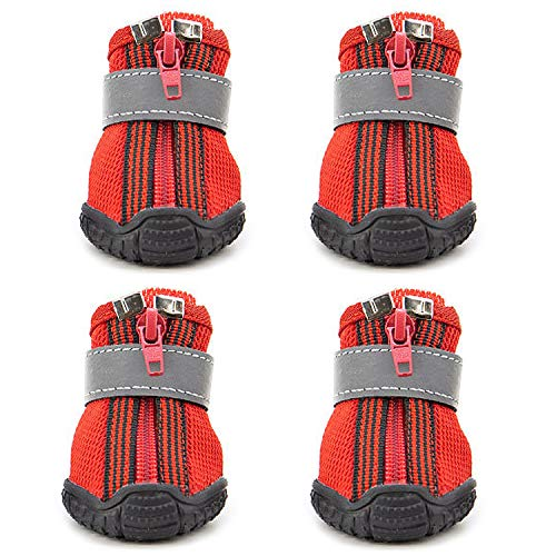 URBEST Dog Boots, 4 Pcs Pet Antiskid Sport Shoes, All-Season Sneakers, Puppy Dog Shoes, Outdoor Paw Protectors for Small Dogs (3#, Red)