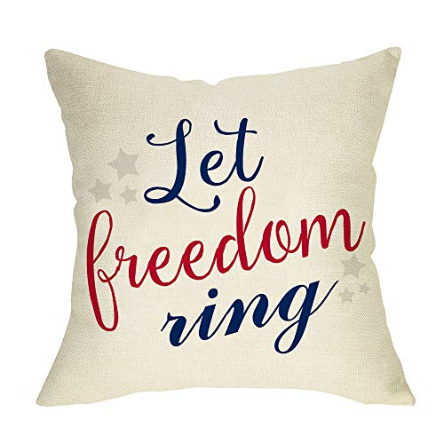 Fbcoo Let Freedom Ring July 4th Holiday Decorative Throw Pillow Cover, Farmhouse USA Cushion Case...