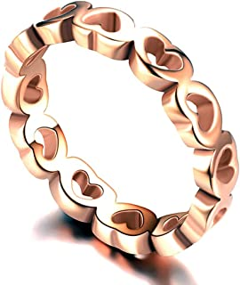 Topsteel Plain Heart Band Ring for Women Stainless Steel/Rose Gold Plated/Stacking Promise Open Rings, Size 6-12