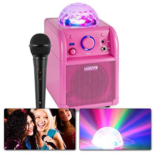 Vonyx SBS50P Karaokeset met Microfoon, Bluetooth en Discolamp - Roze