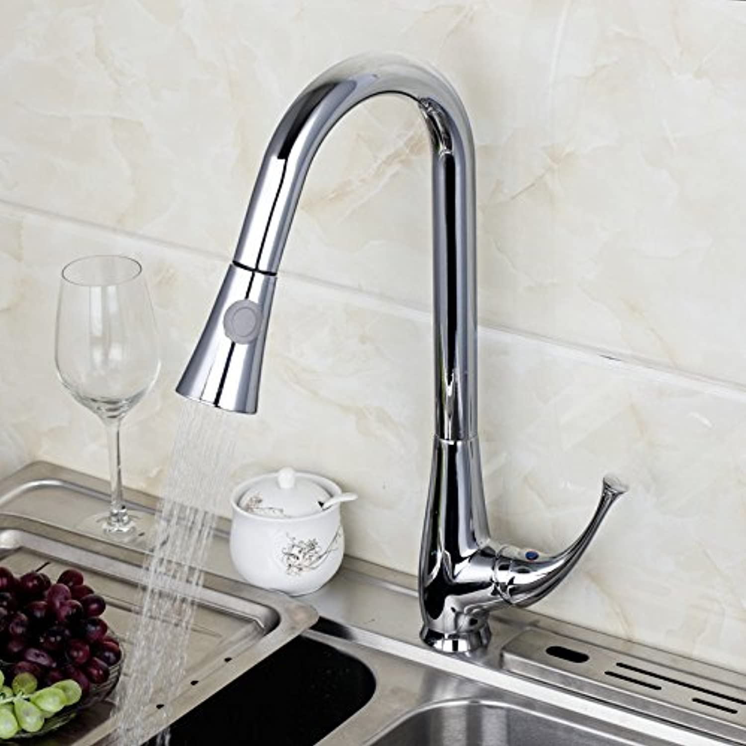 U-Enjoy Pull Out and Top Quality Down Polished Chrome Finished Deck Mounted Single Handle Faucet Kitchen Tap Mixer (Free Shipping)