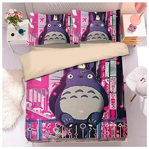 YRRA Dibujos Animados Gato Totoro Cuatro Piezas Ropa Cama, Lecho Juego Sábanas Funda Almohada Tamaño Gigante Grueso Calentar Sedoso Cómodo, Para El Dormitorio La Casa, B, Super King